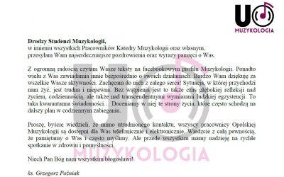Słowo Kierownika Katedry Muzykologii UO do studentów opolskiej muzykologii