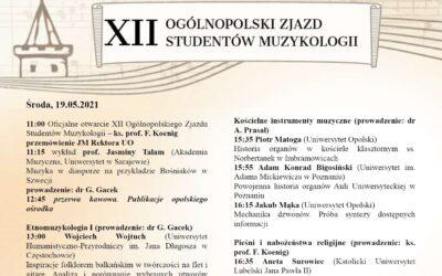 Podziękowanie za udział w konferencjach naukowych zorganizowanych na opolskiej muzykologii